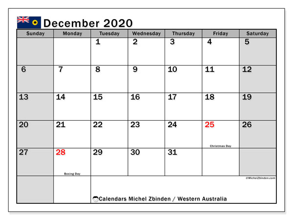 December 2020 Calendar, with the holidays of Western Australia. Holidays calendar to print free.