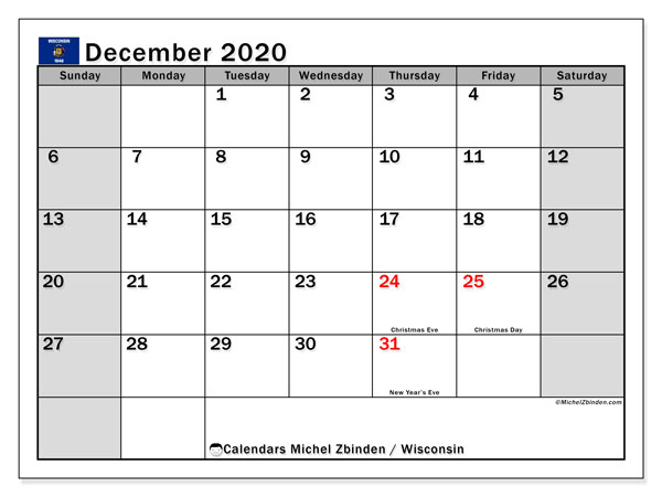 December 2020 Calendar, with the holidays of Wisconsin. Holidays calendar to print free.