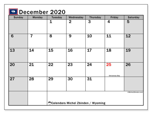 December 2020 Calendar, with the holidays of Wyoming. Free printable calendar with public holidays.