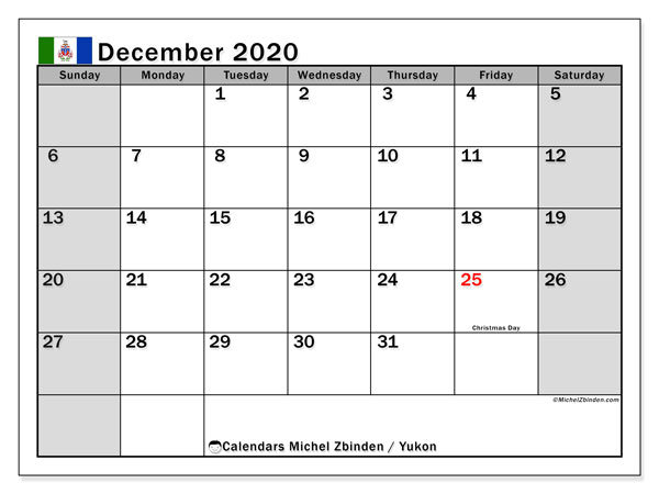 December 2020 Calendar, with the holidays of Yukon. Holidays calendar to print free.