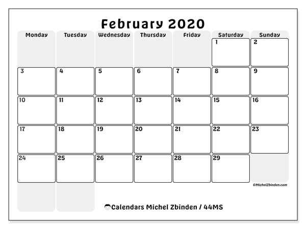 February 2020 Calendar, 44MS. Bullet journal to print free.