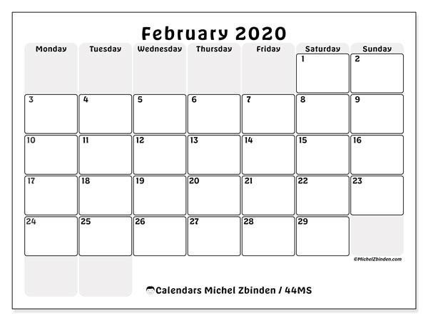Calendar  February 2020, 44MS