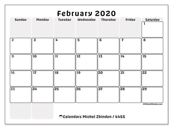 February 2020 Calendar, 44SS. Monthly planner to print free.