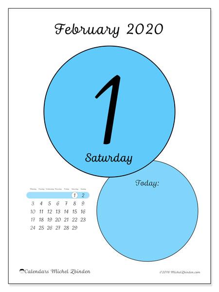 February 2020 Calendar 4 Of Each Day February 2020 Calendar (45 1MS)   Michel Zbinden EN