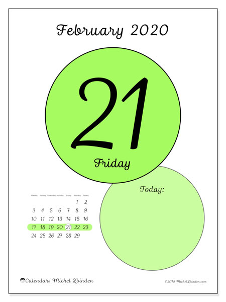 February 2020 Calendar 4 Of Each Day February 2020 Calendar (45 21MS)   Michel Zbinden EN