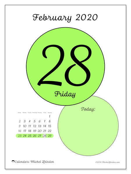 Daily Calendar Printable February 2020 February 2020 Calendar (45 28SS)   Michel Zbinden EN