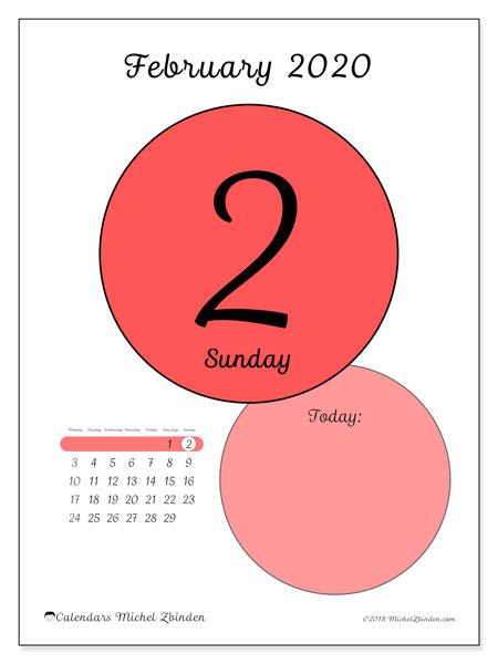February 2020 Calendar 4 Of Each Day February 2020 Calendar (45 2MS)   Michel Zbinden EN