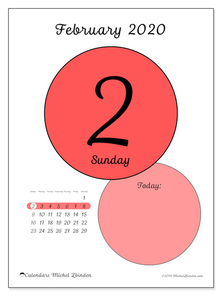 Daily Calendar 2020 February February 2020 Calendar (45 2SS)   Michel Zbinden EN