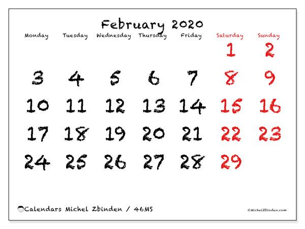 February 2020 Calendar, 46MS. Calendar to print free.
