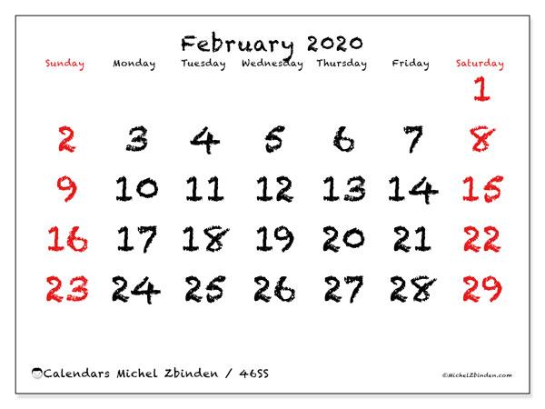 February 2020 Calendar, 46SS. Free printable monthly planner.