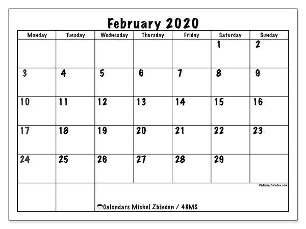 "Printable February 2020 calendar. Monthly calendar ""48MS"" and free printable planner"