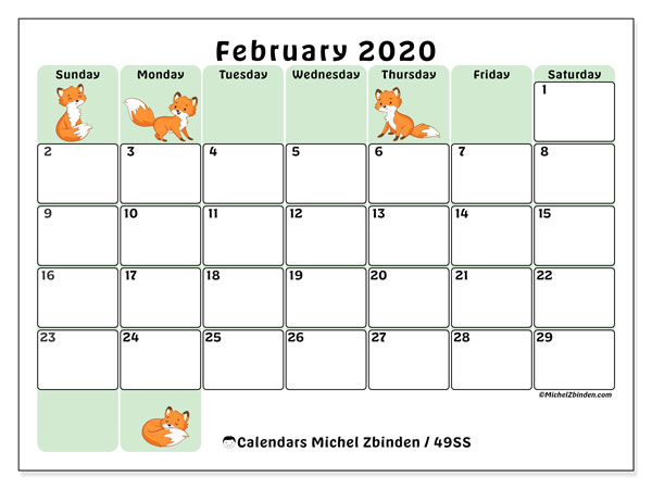February 2020 Calendar, 49SS. Free bullet journal to print.