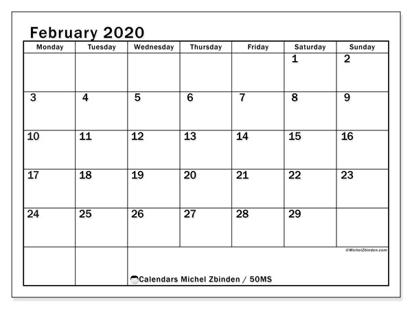 "Printable February 2020 calendar. Monthly calendar ""50MS"" and free schedule to print"