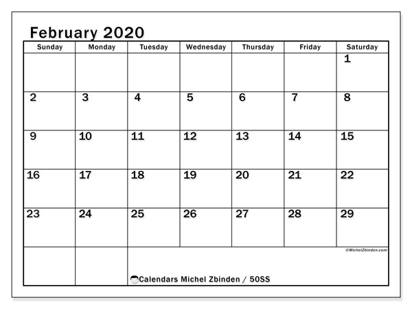 February 2020 Calendar, 50SS. Monthly calendar to print free.