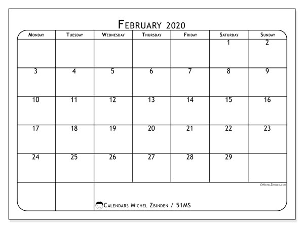 February 2020 Calendar, 51MS. Free printable bullet journal.