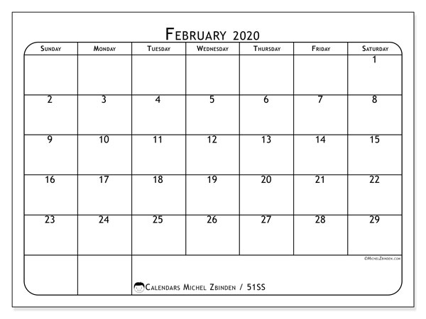 Printable calendars, February 2020, Sunday - Saturday