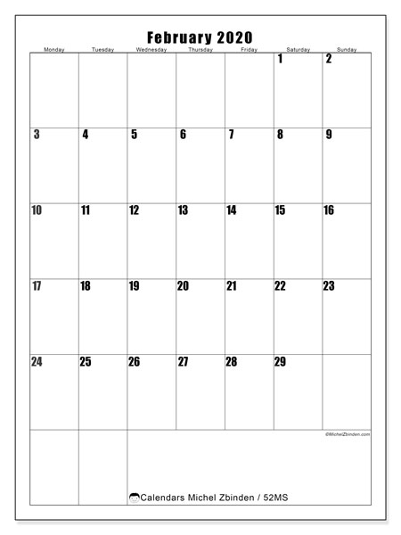 Calendar February 2020 - 52MS. Vertical. Monthly Calendar and free schedule to print.