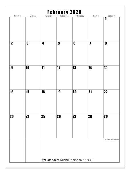 February 2020 Calendar, 52SS. Monthly calendar to print free.