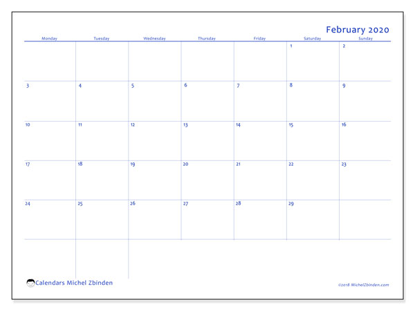 February 2020 Calendar, 55MS. Calendar for the month to print free.