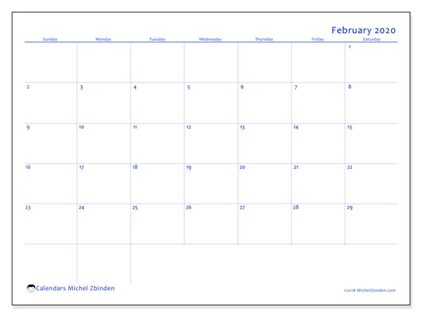 February 2020 Calendar, 55SS. Free printable monthly planner.