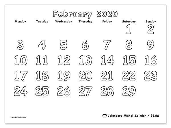 February 2020 Calendar, 56MS. Bullet journal to print free.