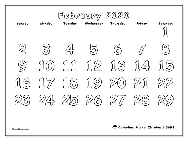 February 2020 Calendar, 56SS. Free printable monthly planner.
