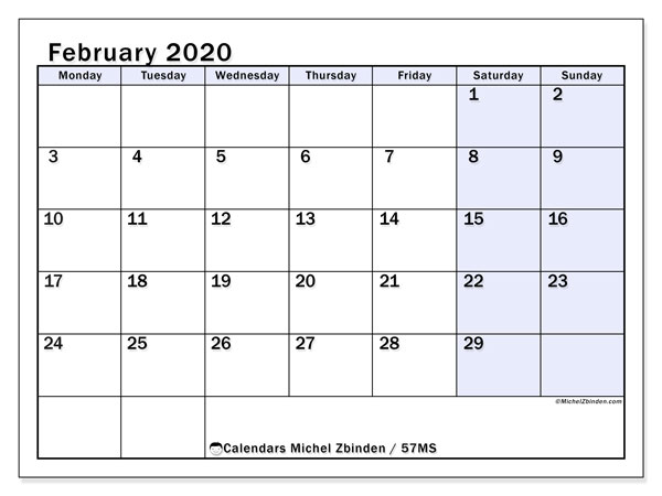 February 2020 Calendar, 57MS. Bullet journal to print free.