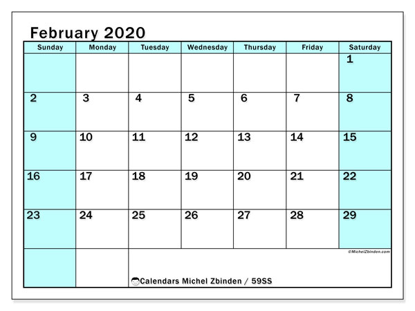 February 2020 Calendar, 59SS. Calendar for the month to print free.