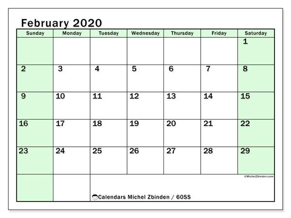 Calendar  February 2020, 60SS