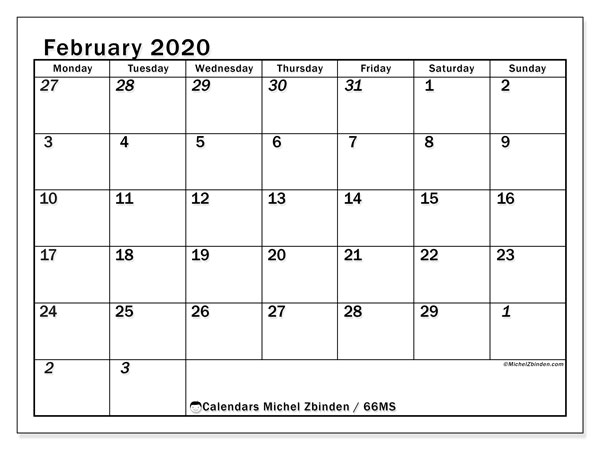 February 2020 Calendar, 66MS. Monthly planner to print free.