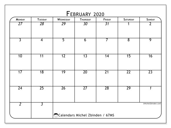 February 2020 Calendar, 67MS. Planner to print free.