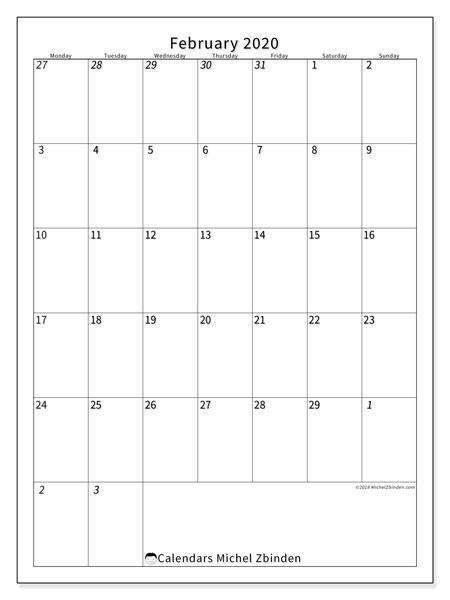 Calendar  February 2020, 68MS