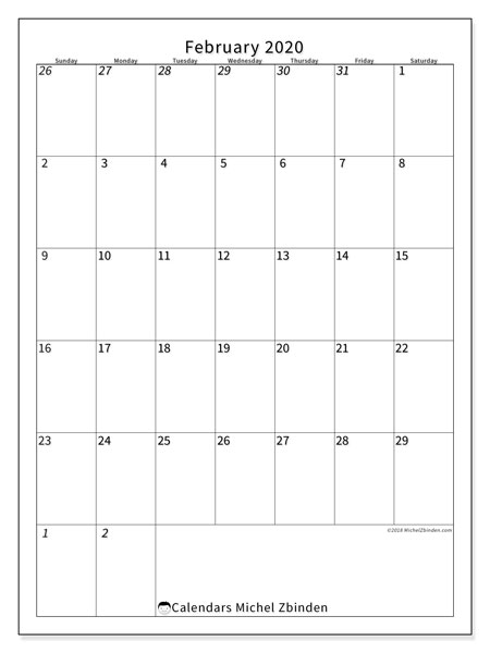 Calendar  February 2020, 68SS