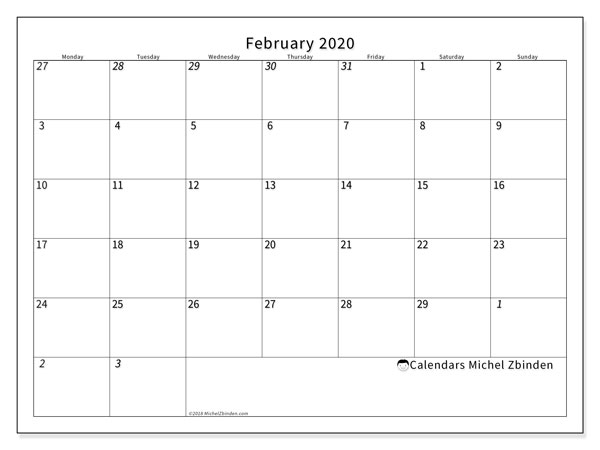 Brunswick Maine Calendar February 2020 February 2020 Calendars (MS)   Michel Zbinden EN