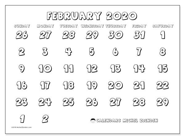 Calendar  February 2020, 71SS