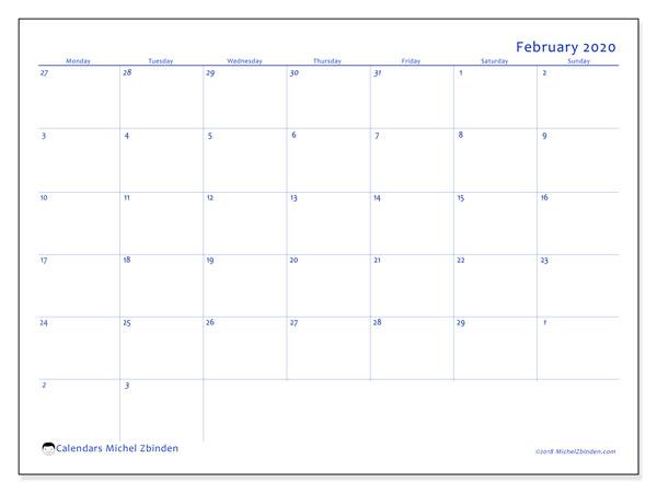 February 2020 Calendar, 73MS. Free printable monthly calendar.