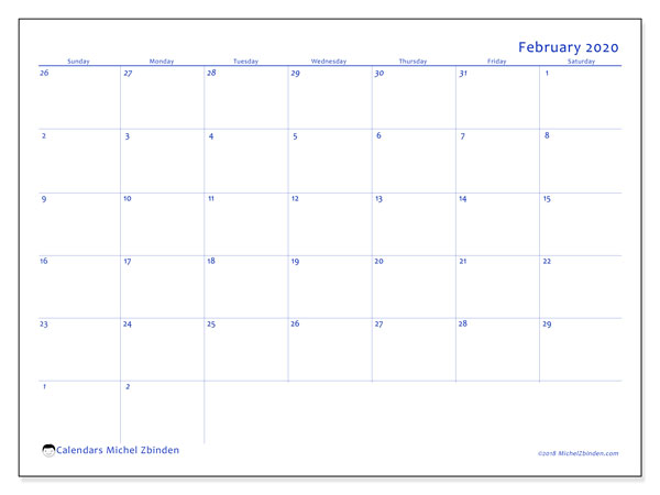 February 2020 Calendar, 73SS. Calendar for the month to print free.