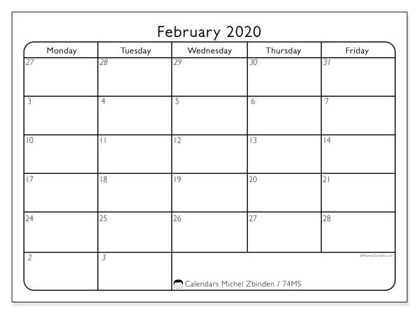 February 2020 Calendar, 74MS. Free calendar to print.
