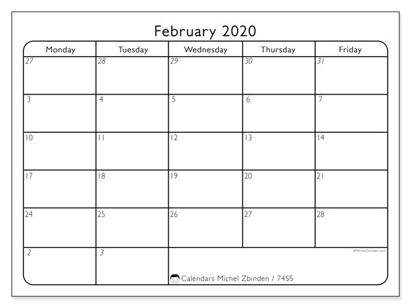 February 2020 Calendar, 74SS. Free bullet journal to print.
