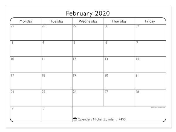 February 2020 Calendar, 74SS. Planner to print free.