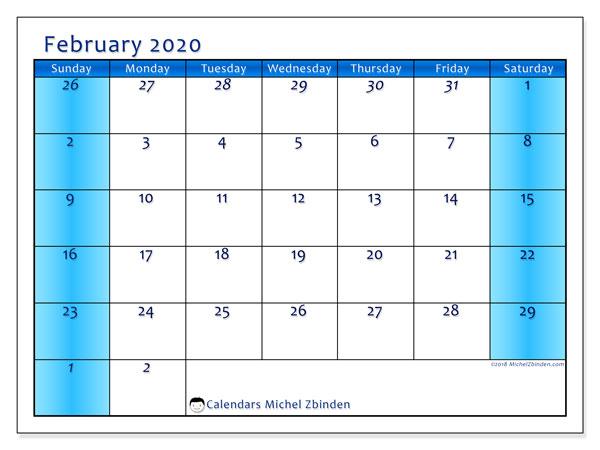 Calendar  February 2020, 75SS