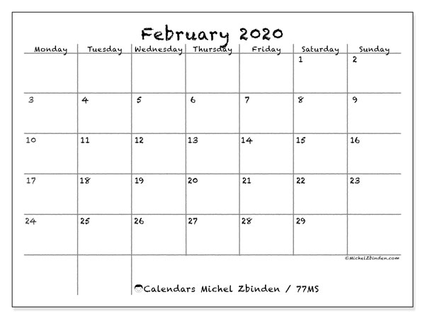 February 2020 Calendar, 77MS. Monthly planner to print free.