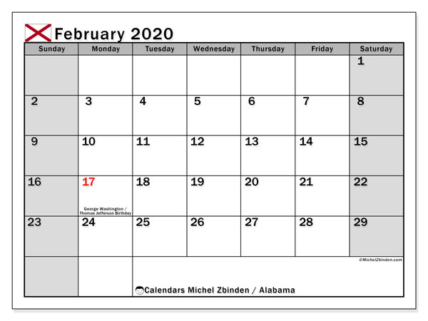 "Printable ""Alabama"" calendar with public holidays. Monthly February 2020 calendar and schedule to print free."