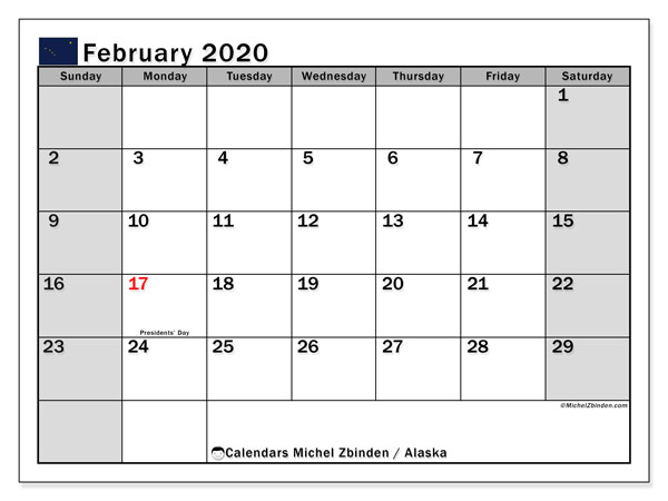 Calendar February 2020 - Alaska. Public Holidays. Monthly Calendar and free printable schedule.