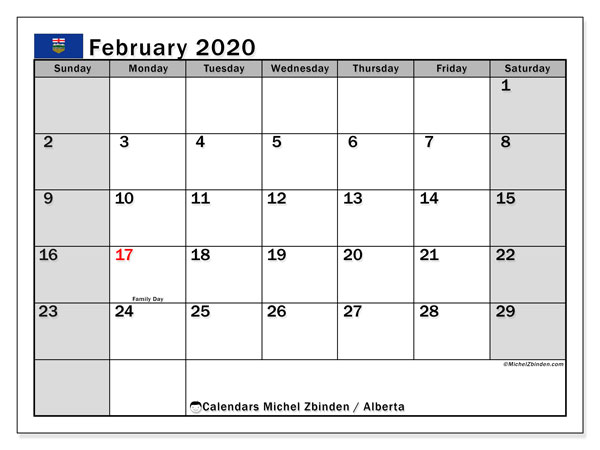 February 2020 Calendar, with the holidays of Alberta. Free printable calendar with public holidays.