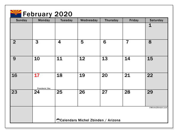 February 2020 Calendar, with the holidays of Arizona. Free printable calendar with public holidays.