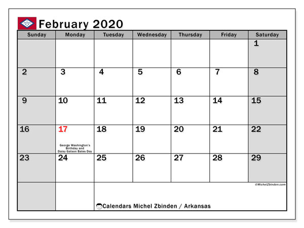Calendar February 2020 - Arkansas. Public Holidays. Monthly Calendar and planner to print free.
