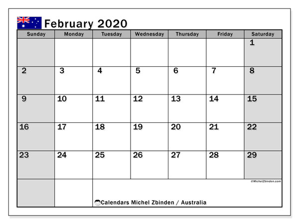 Printable calendars, February 2020, Public Holidays