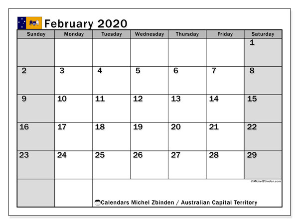 February 2020 Calendar, with the holidays of Australian Capital Territory. Holidays calendar to print free.