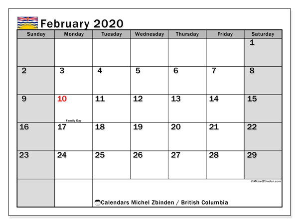 February 2020 Calendar, with the holidays of British Columbia. Holidays calendar to print free.